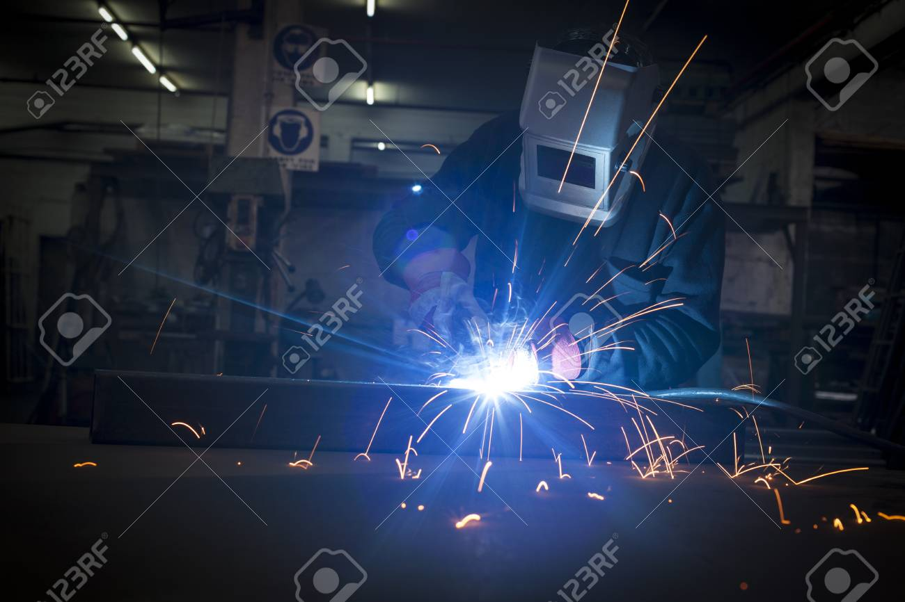 Welder working in a steel construction fatory Stock Photo - 17312791
