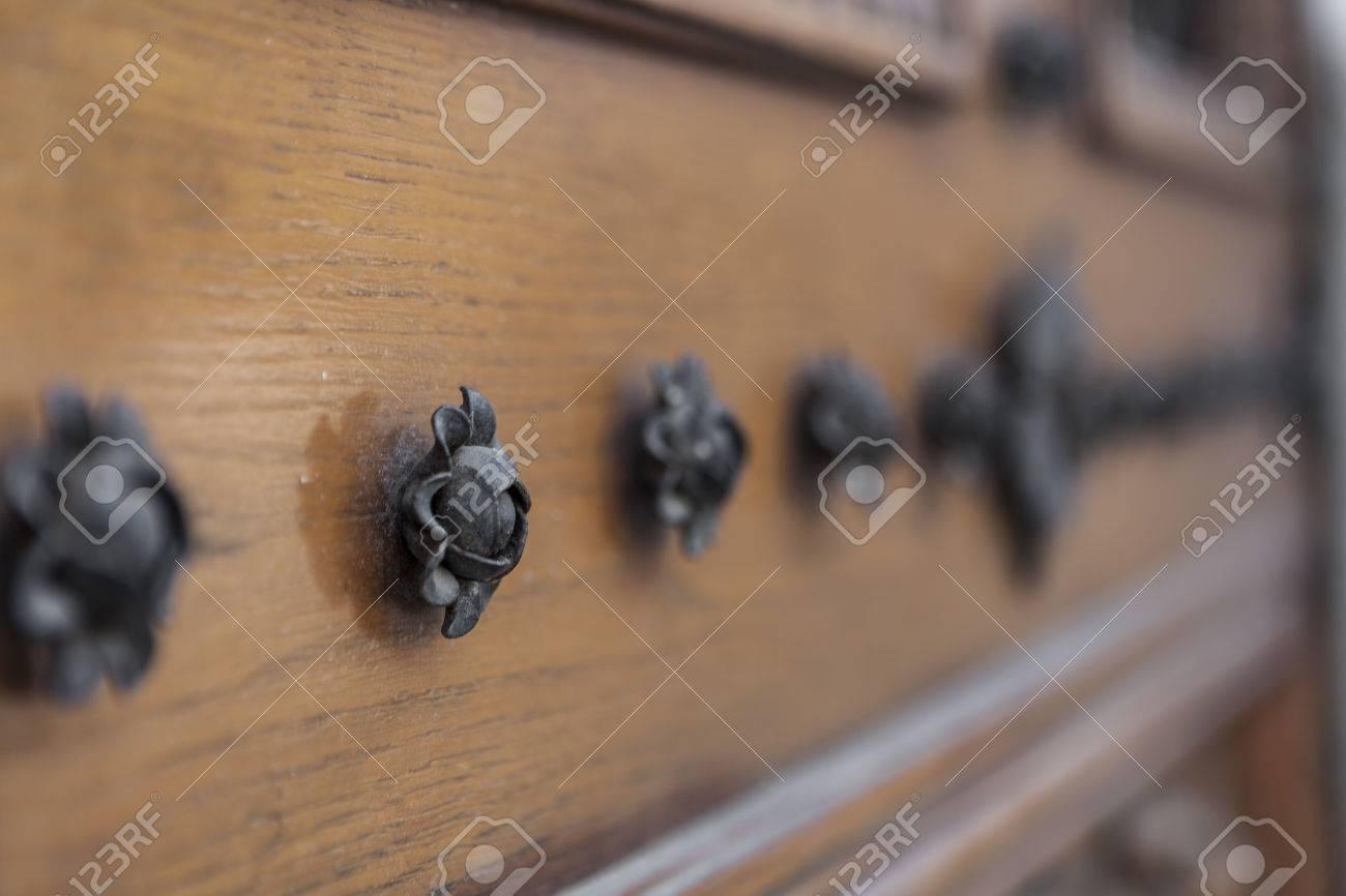 Black Metal fower ornaments on old wood door Stock Photo - 30835123 & Black Metal Fower Ornaments On Old Wood Door Stock Photo Picture ...