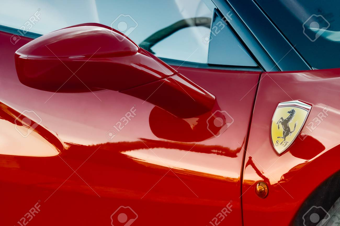 Red Flaming Ferrari 458 Detail Stock Photo Picture And Royalty Free Image Image 104985925
