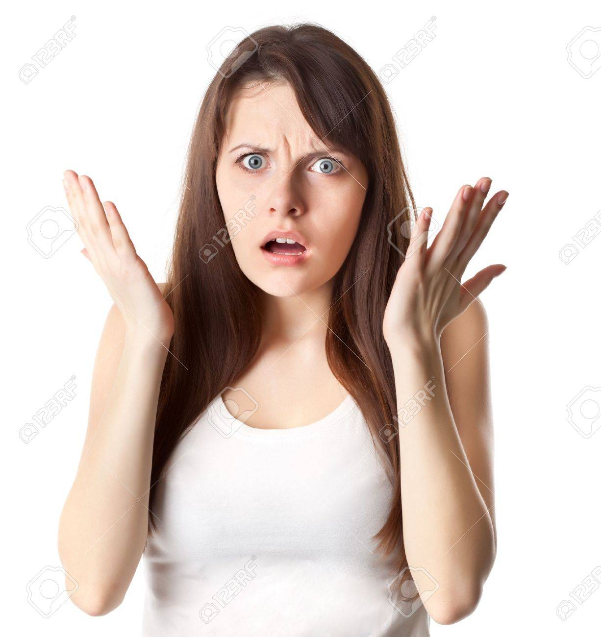 Shocked woman in white t-shirt Studio shot Isolated on white background - 13126367