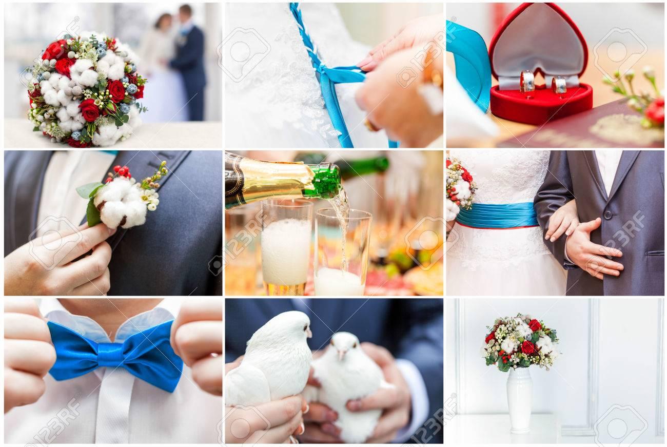 Collage Von Neun Hochzeit Fotos Hochzeit Hintergrund Lizenzfreie