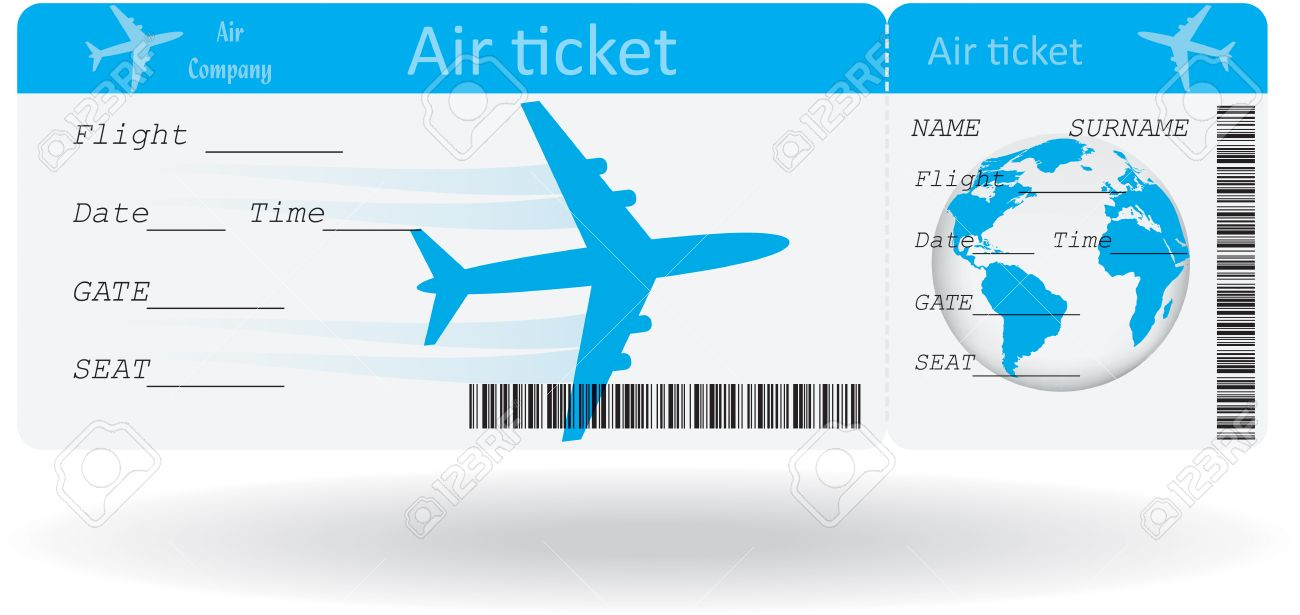 Variant Of Air Ticket Isolated On White Illustration Royalty Free