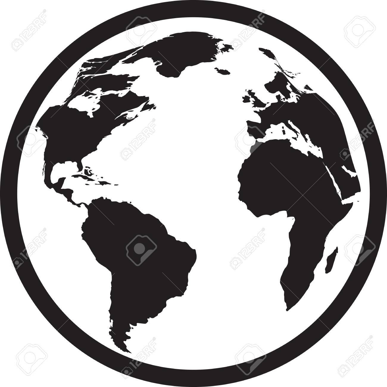 Icon Of Black And White Globe. Vector Illustration Stock Vector   40230233