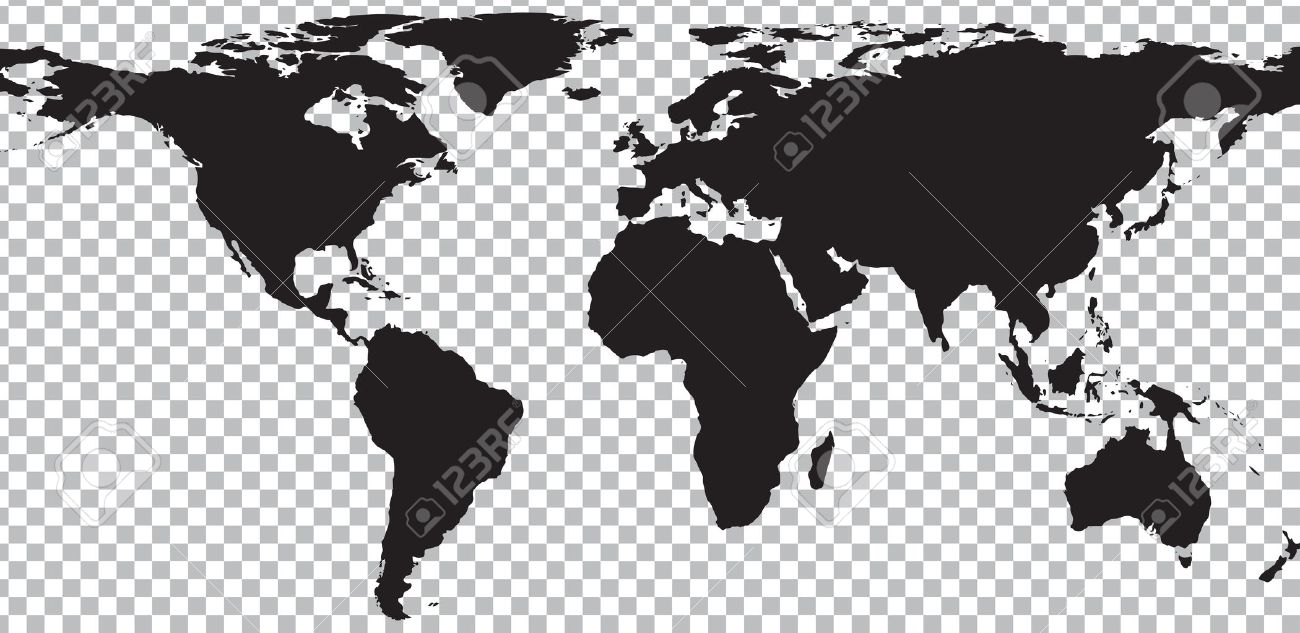 Black Map Of World On Transparent Background. Vector Illustration