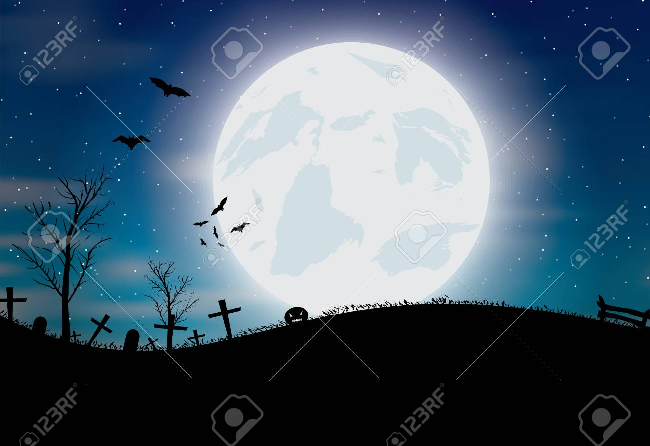 Halloween background with pumkin, bats and big moon. Vector illustration - 47449632