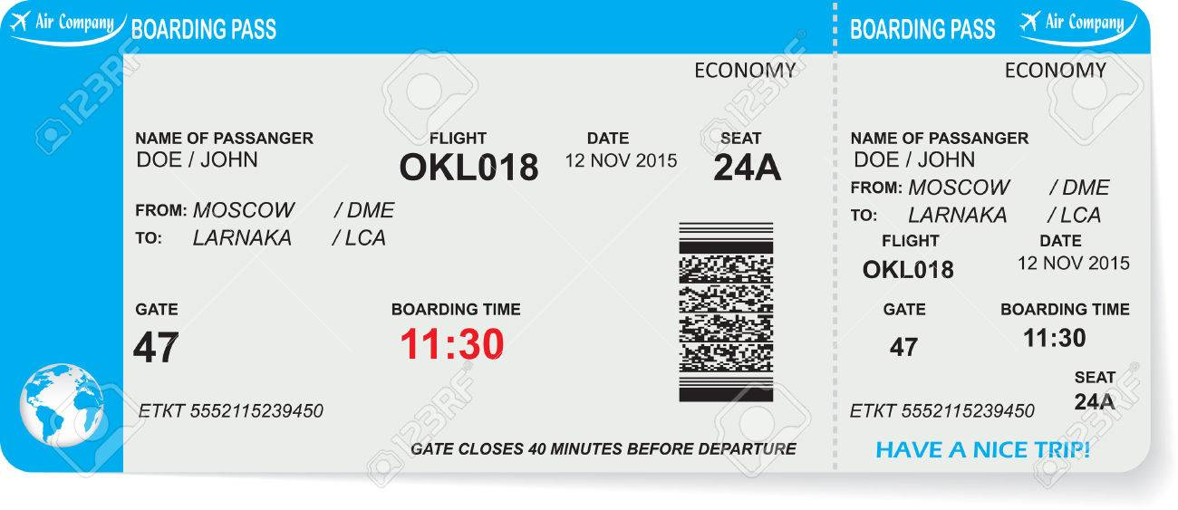 Pattern of airline boarding pass ticket with QR2 code. Concept of travel, journey or business. Isolated on white. Vector illustration - 47668812