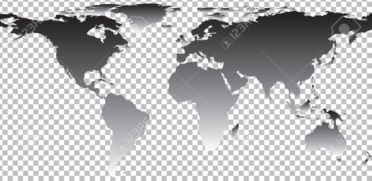 Black map of world on transparent background. Vector illustration - 48965243