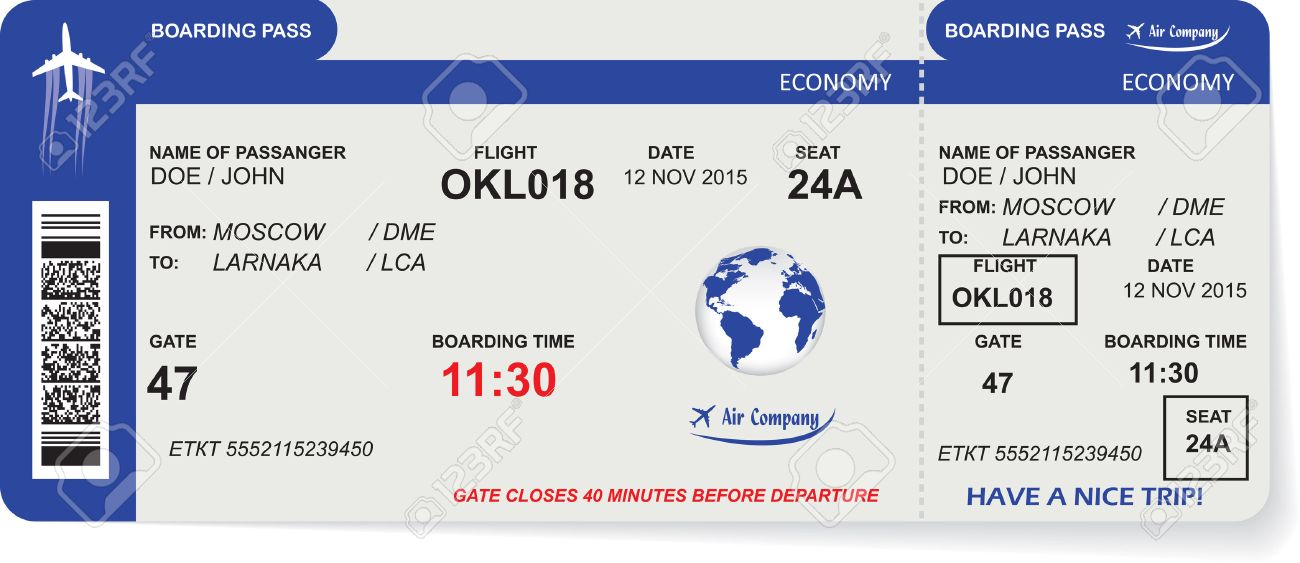Pattern of airline boarding pass ticket with QR2 code. Concept of travel, journey or business. Isolated on white. Vector illustration - 51940137