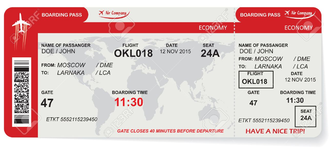 Pattern of airline boarding pass ticket with QR2 code. Concept of travel, journey or business. Isolated on white. Vector illustration - 51940194