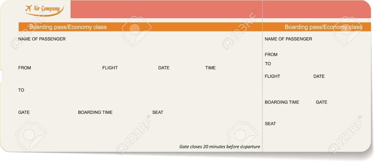 Vector Template Of A Boarding Pass Or Air Ticket. Concept Of Travel,  Journey Or  Airplane Ticket Template