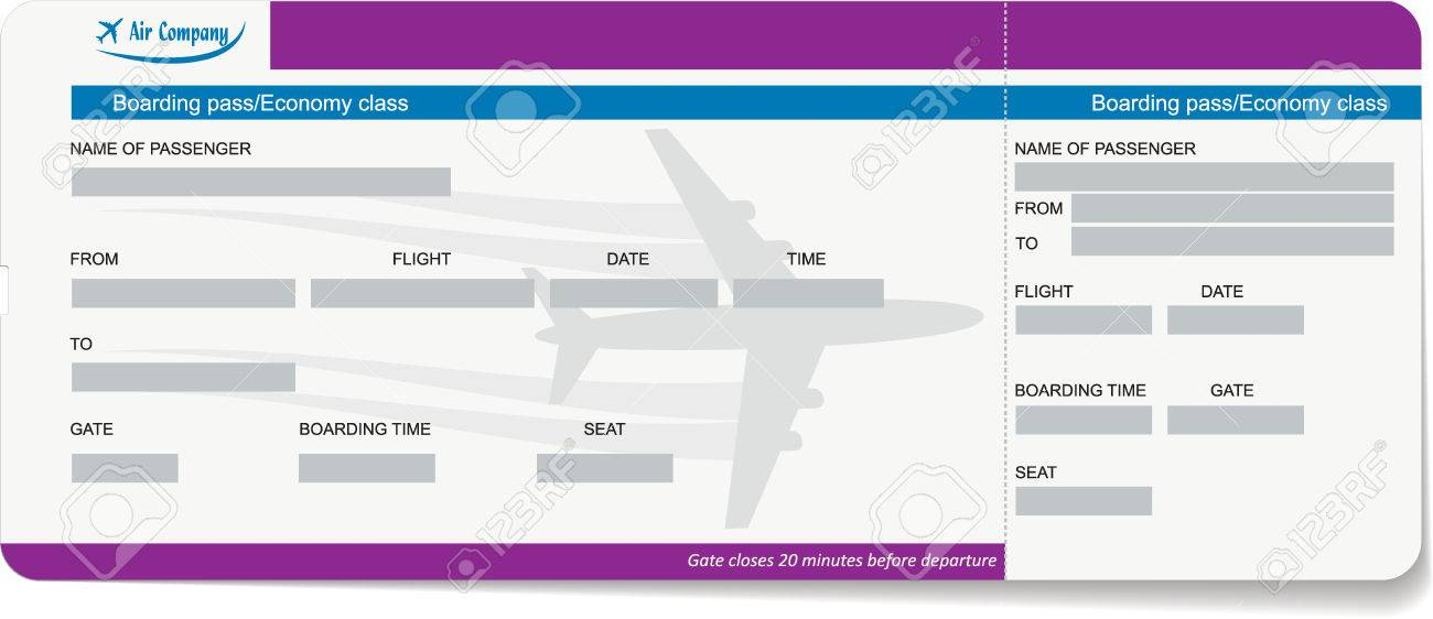 Vector Template Of A Boarding Pass Or Air Ticket Concept Of
