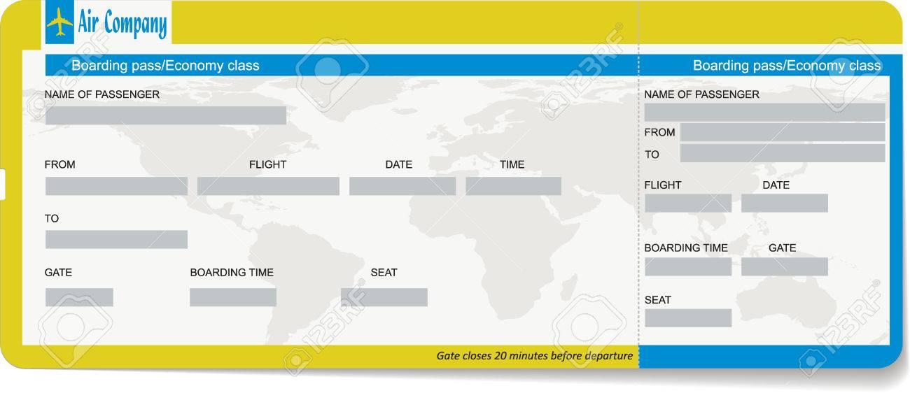 Vorlage Eines Bordkarte Oder Flugticket. Konzept Der Reise, Reise ...