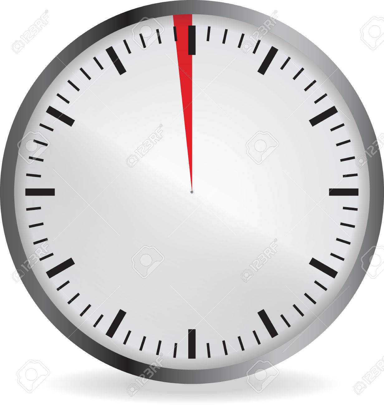 clock with red 1 minute deadline isolated on white background