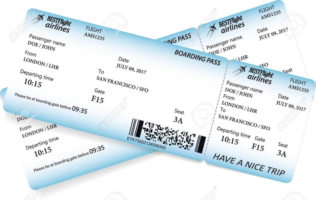 Two boarding pass tickets in blue colors  Vector template