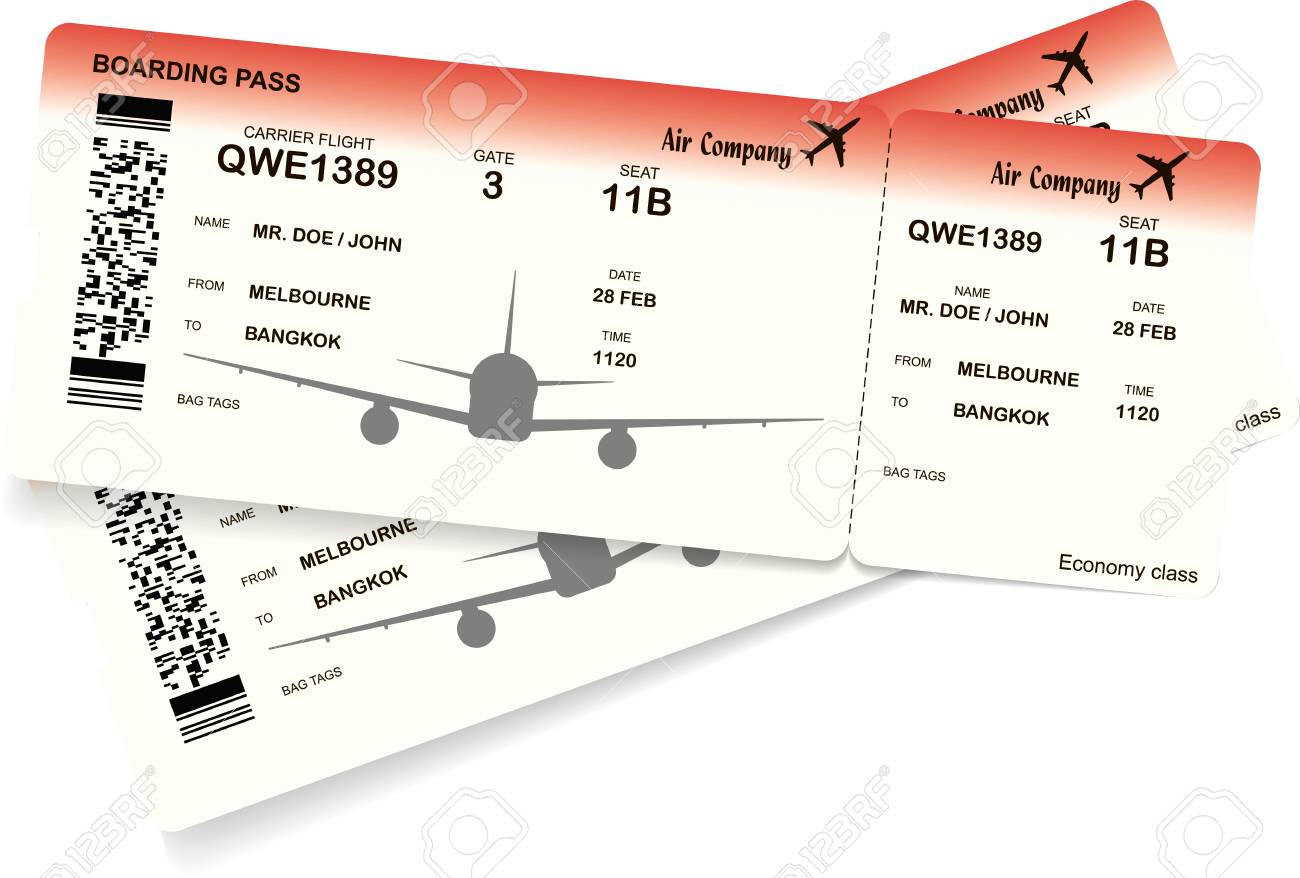 red airplane ticket boarding pass ticket template vector