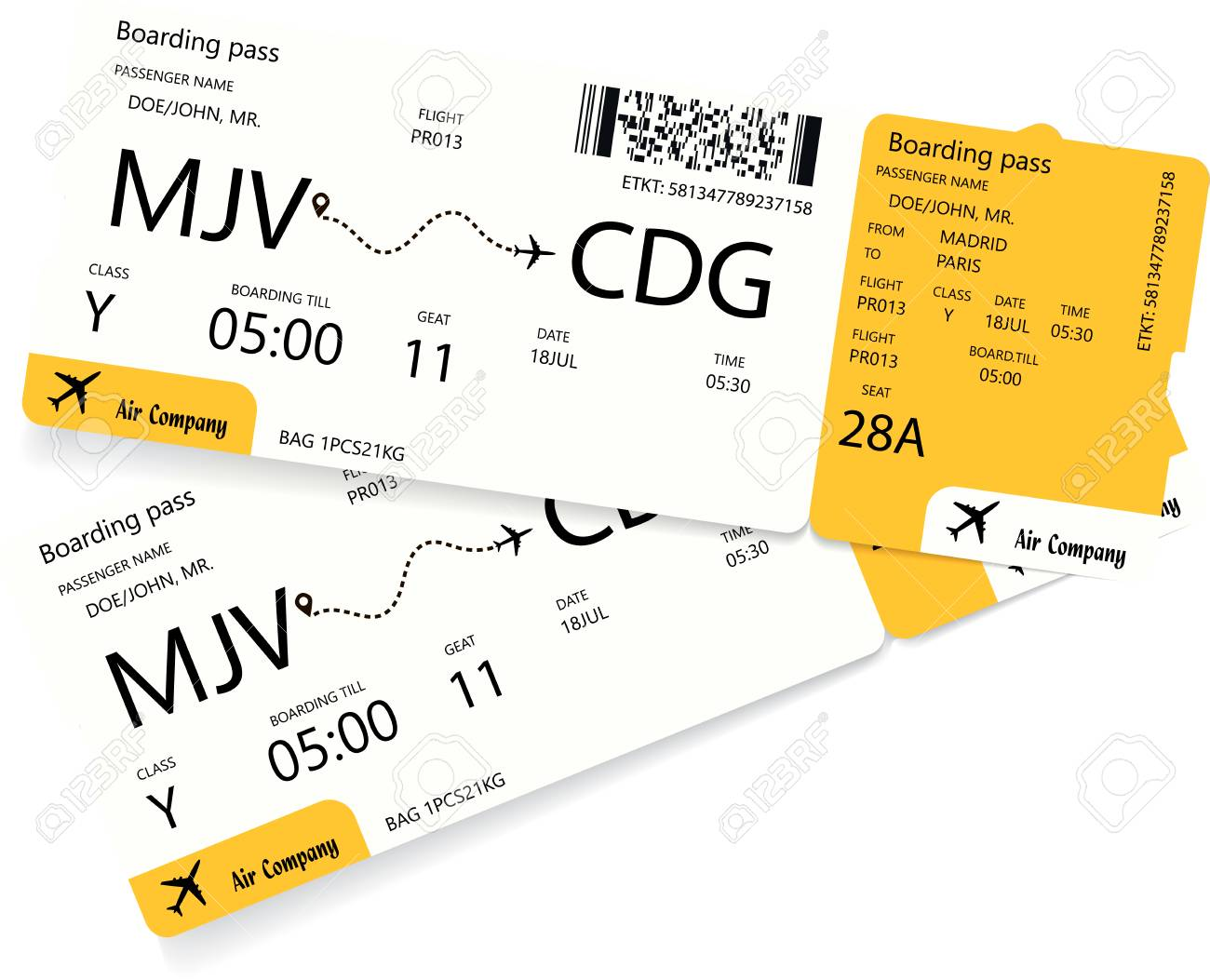 airplane ticket template pattern of yellow boarding pass coupon