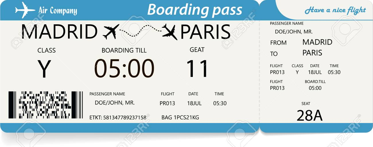 Template Of Plane Ticket For Business Trip Travel Or Vacation