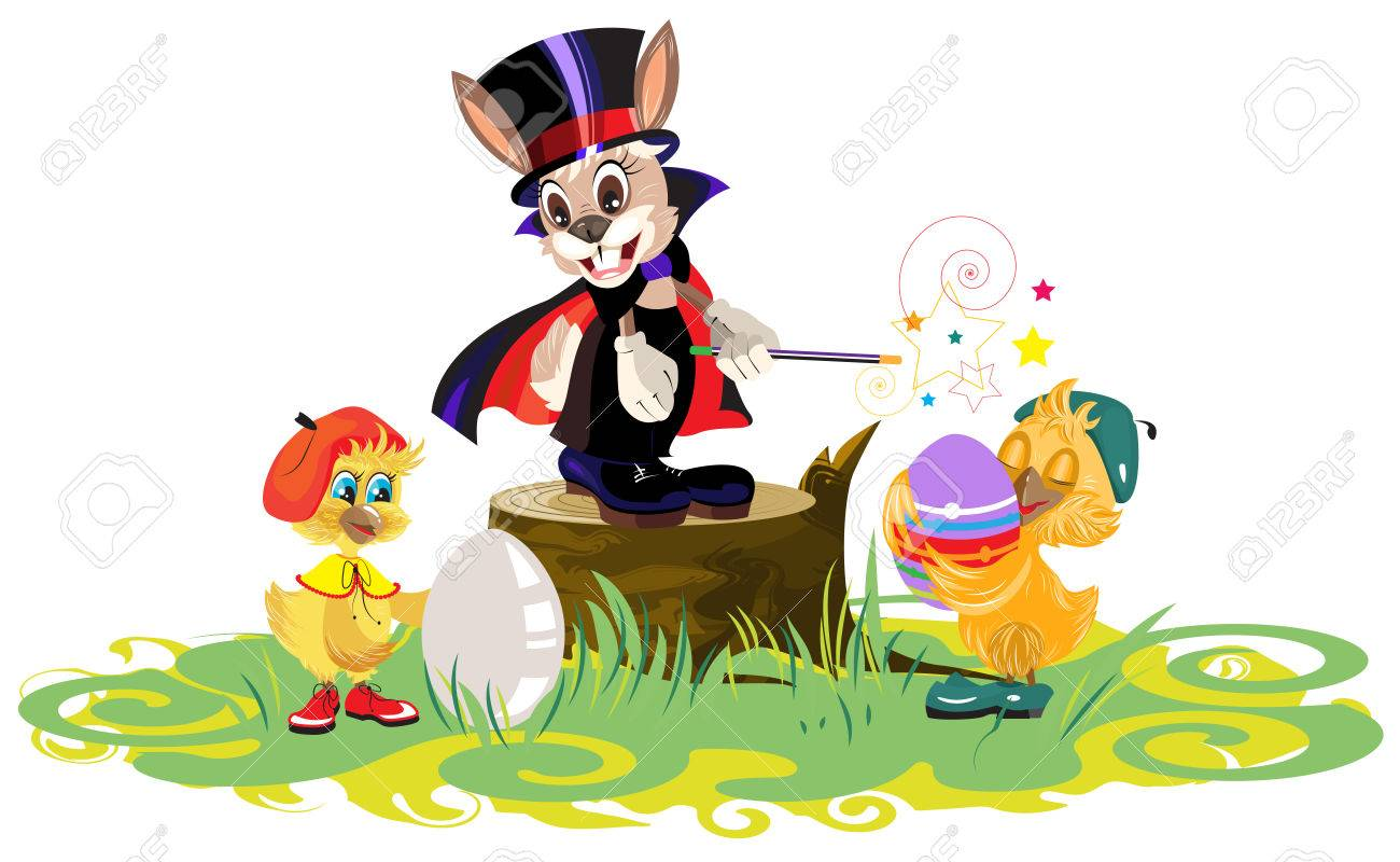 rabbit magician and chickens dyed eggs for easter royalty free