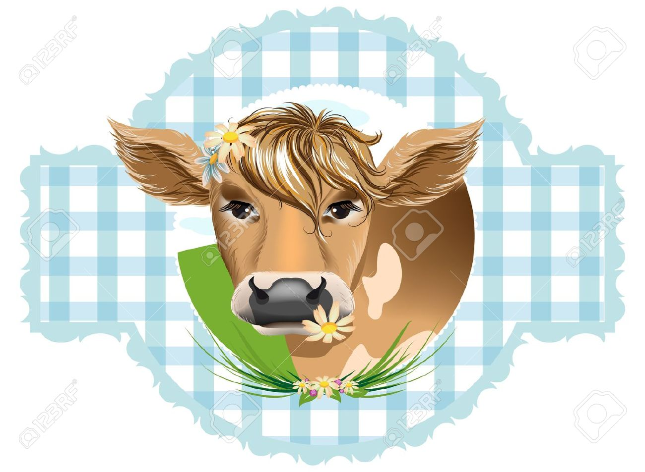 Cows with flowers in their teeth - 9348554