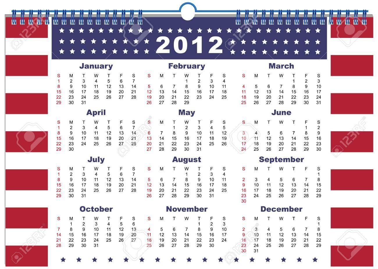 The calendar USA 2012 Stock Vector - 11662920
