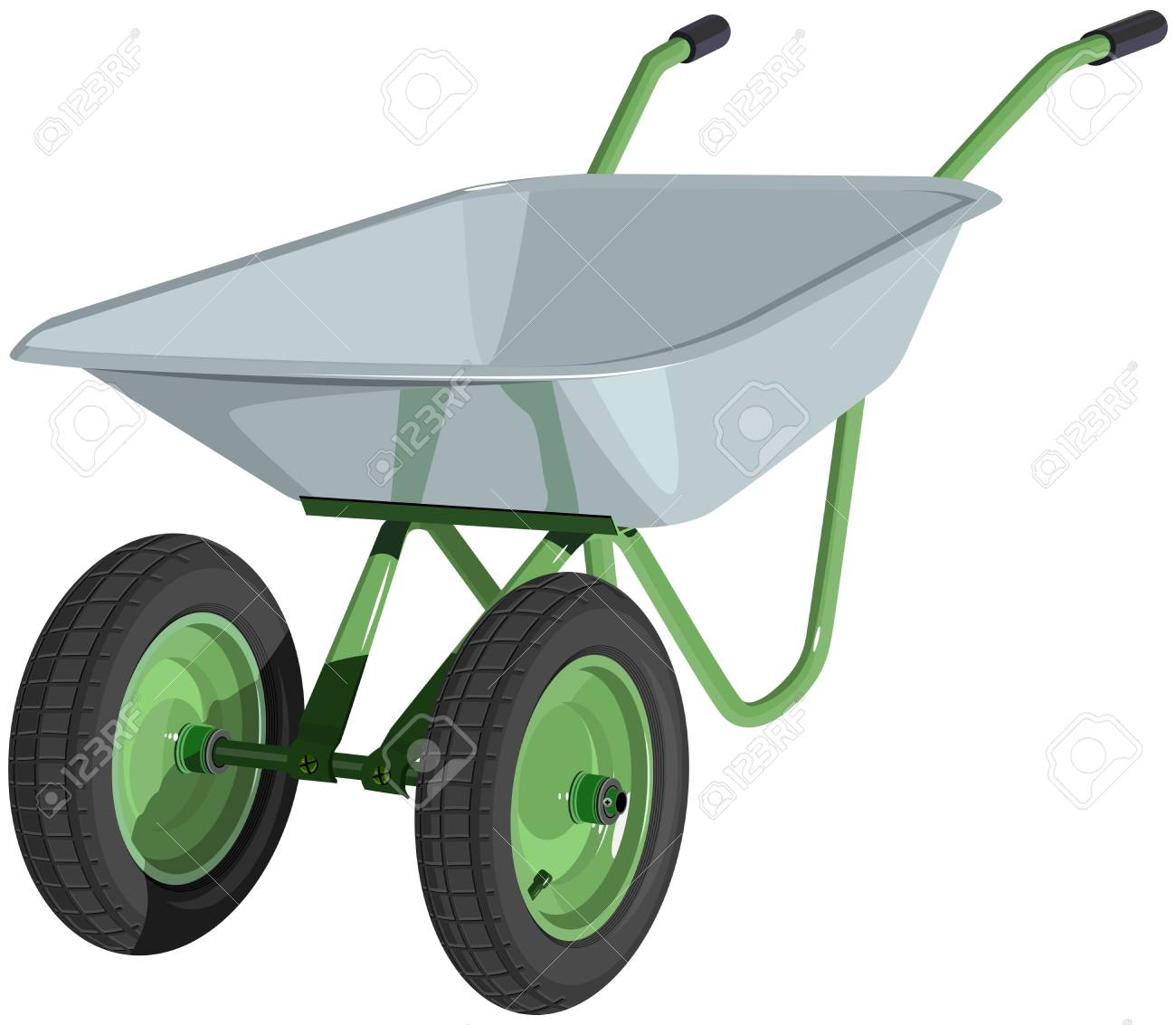 Metal wheelbarrow isolated  Illustration Stock Vector - 18789730