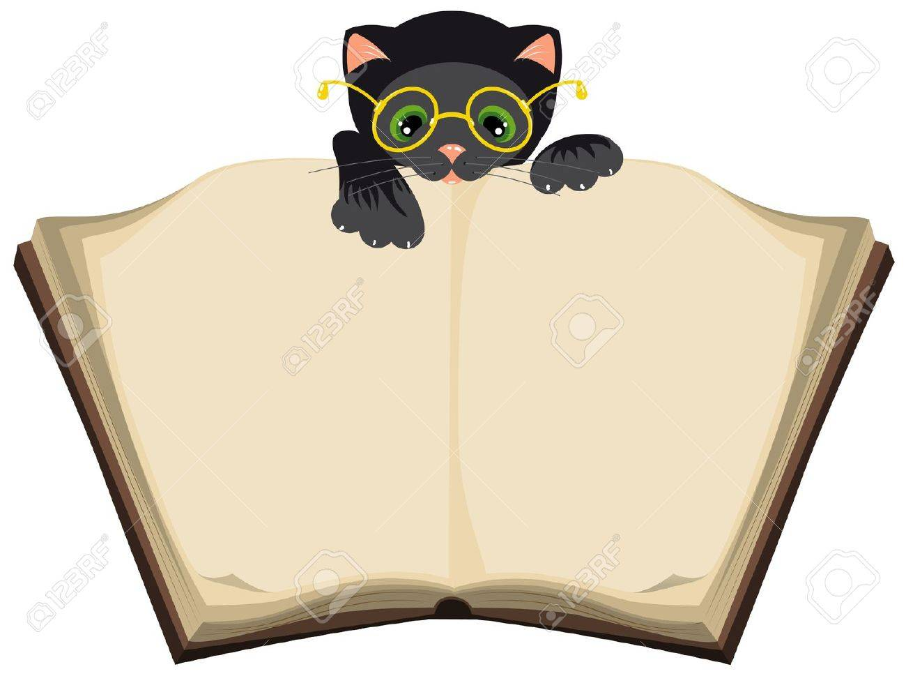 cat reading open book illustration in vector format eps royalty free