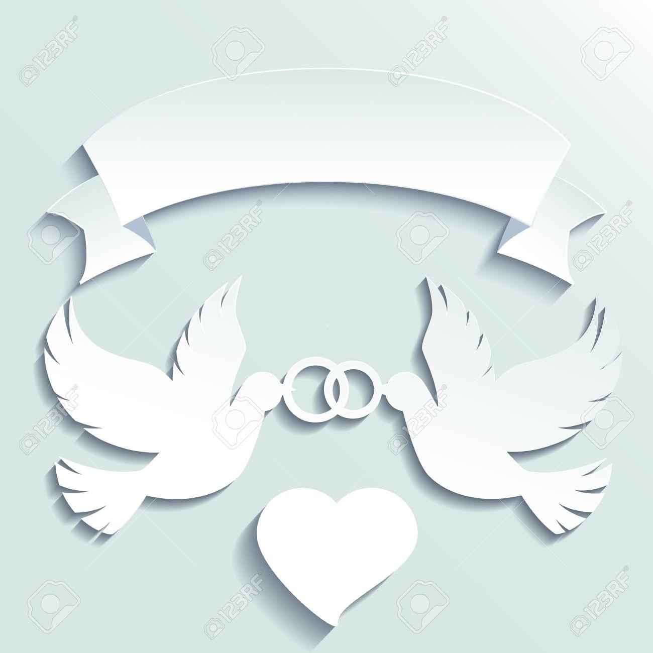 Doves Holding Wedding Rings Vector Cartoon Illustration Stock