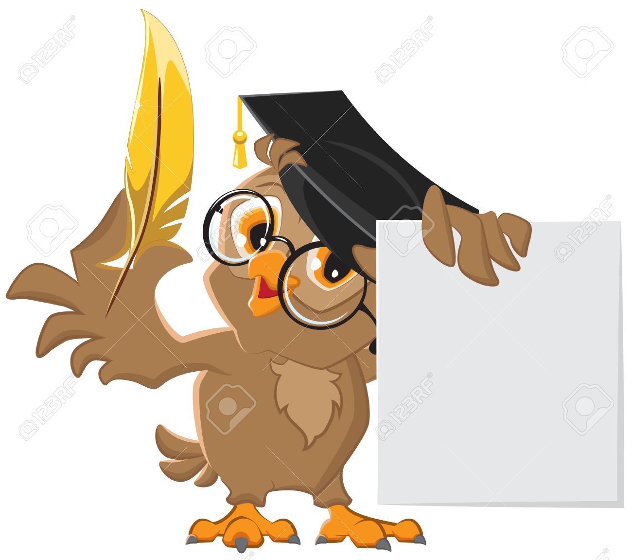 Wise owl holding a golden pen and a sheet of paper. Vector cartoon illustration - 32052778