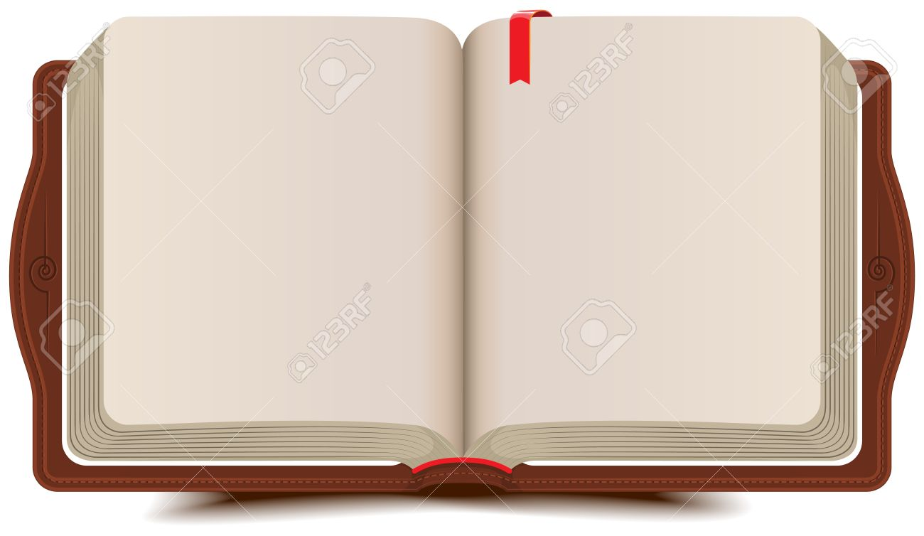 Open book diary with bookmark. Vector cartoon illustration - 32497534