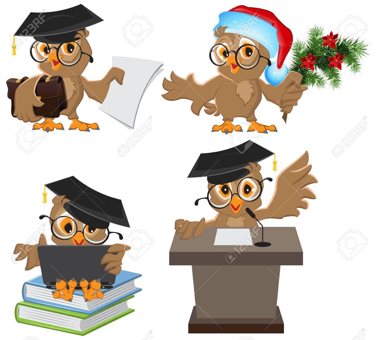 Set owl in mortarboard. Illustration in vector format - 34579242