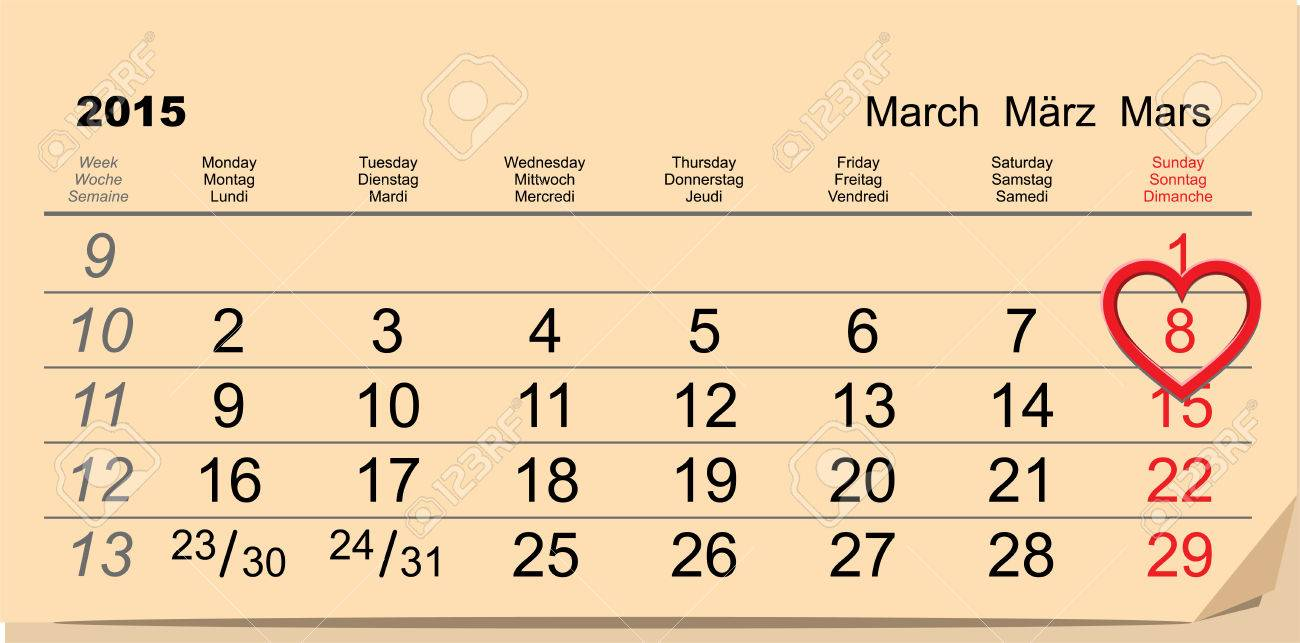 March 8 International Women Day  Calendar data illustration in