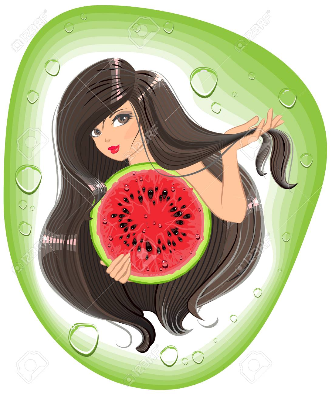 brunette girl holding a watermelon template label shampoo