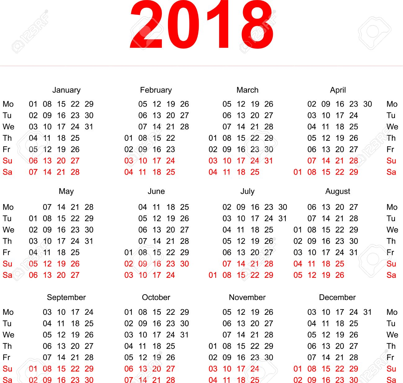 2018 calendar template vertical weeks first day monday illustration in vector format stock