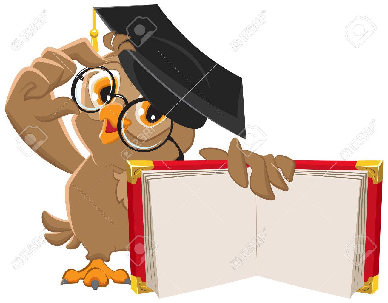 Owl holding open book. Illustration in vector format - 39332279