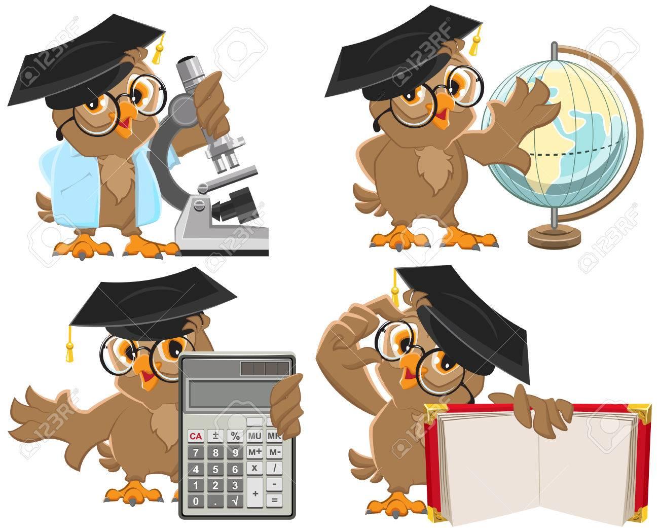 Set owls teachers. Isolated illustration in vector format - 40013221