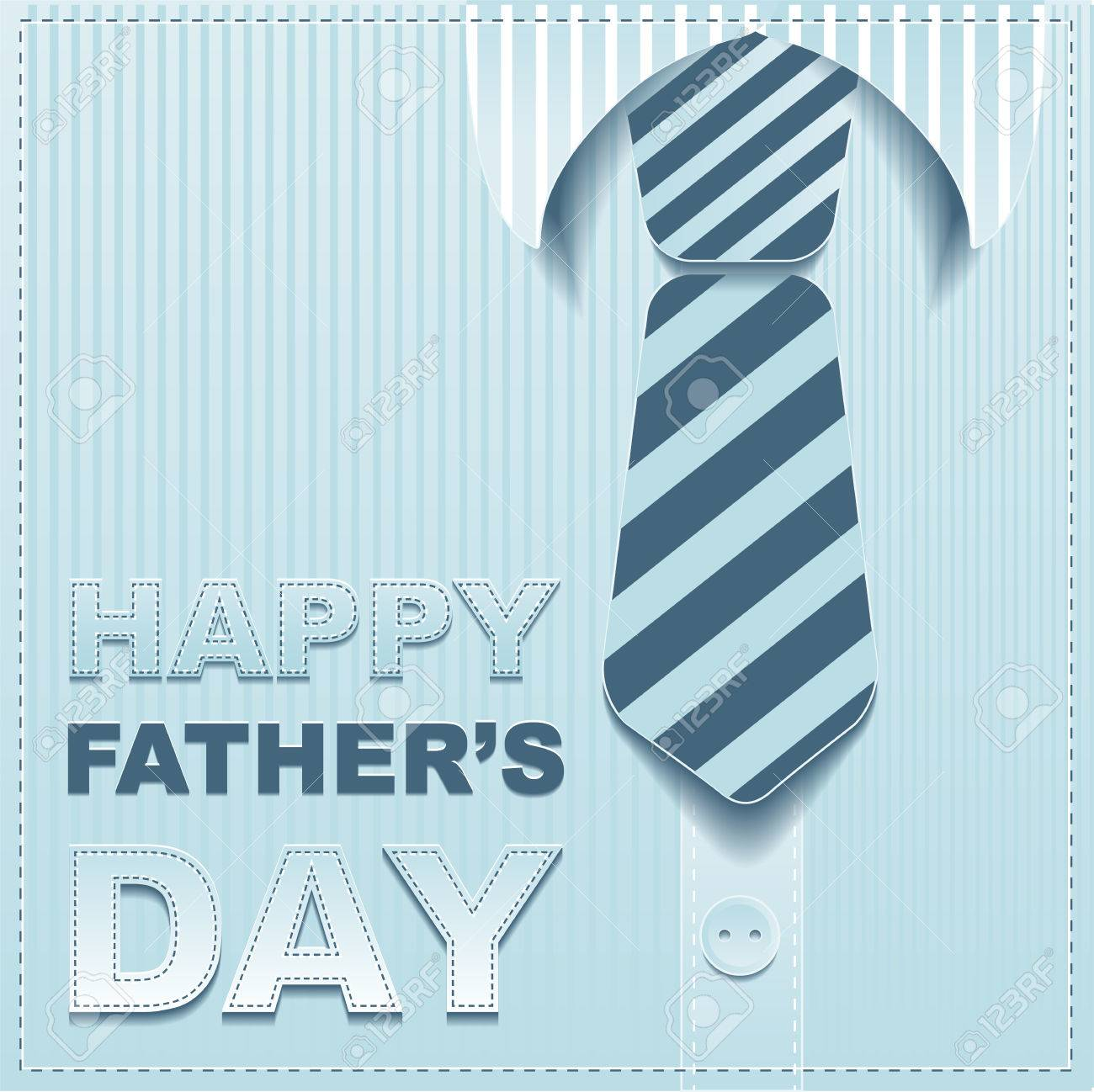 Striped tie on a background of the shirt. Template greeting card for Fathers Day. Illustration in vector format - 40013223