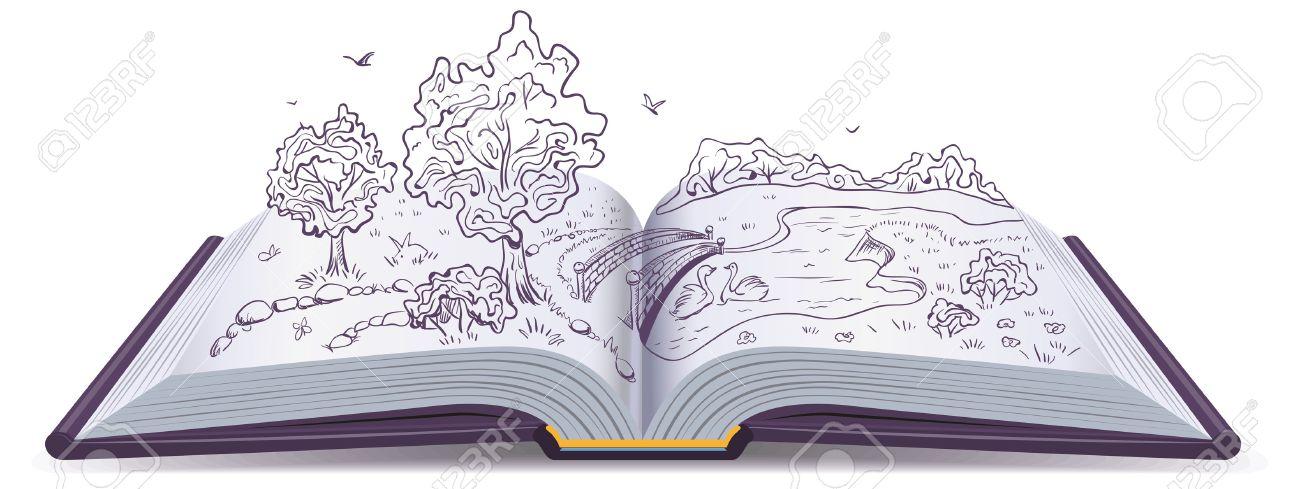 Pradera, Río, Puente Y árboles En Las Páginas De Un Libro Abierto ...