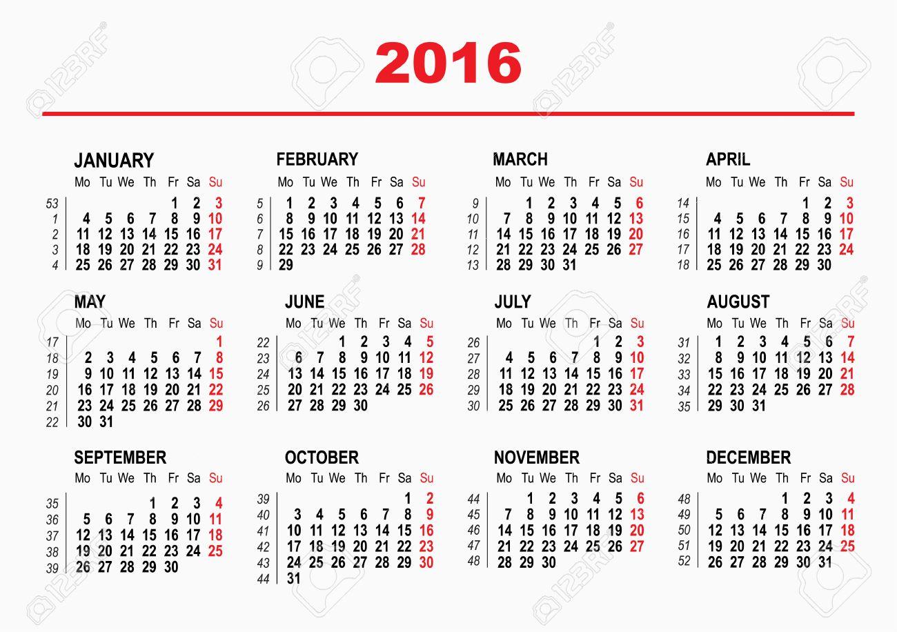2016 Calendario Plantilla. Semana Horizontal. Primer Día Lunes ...