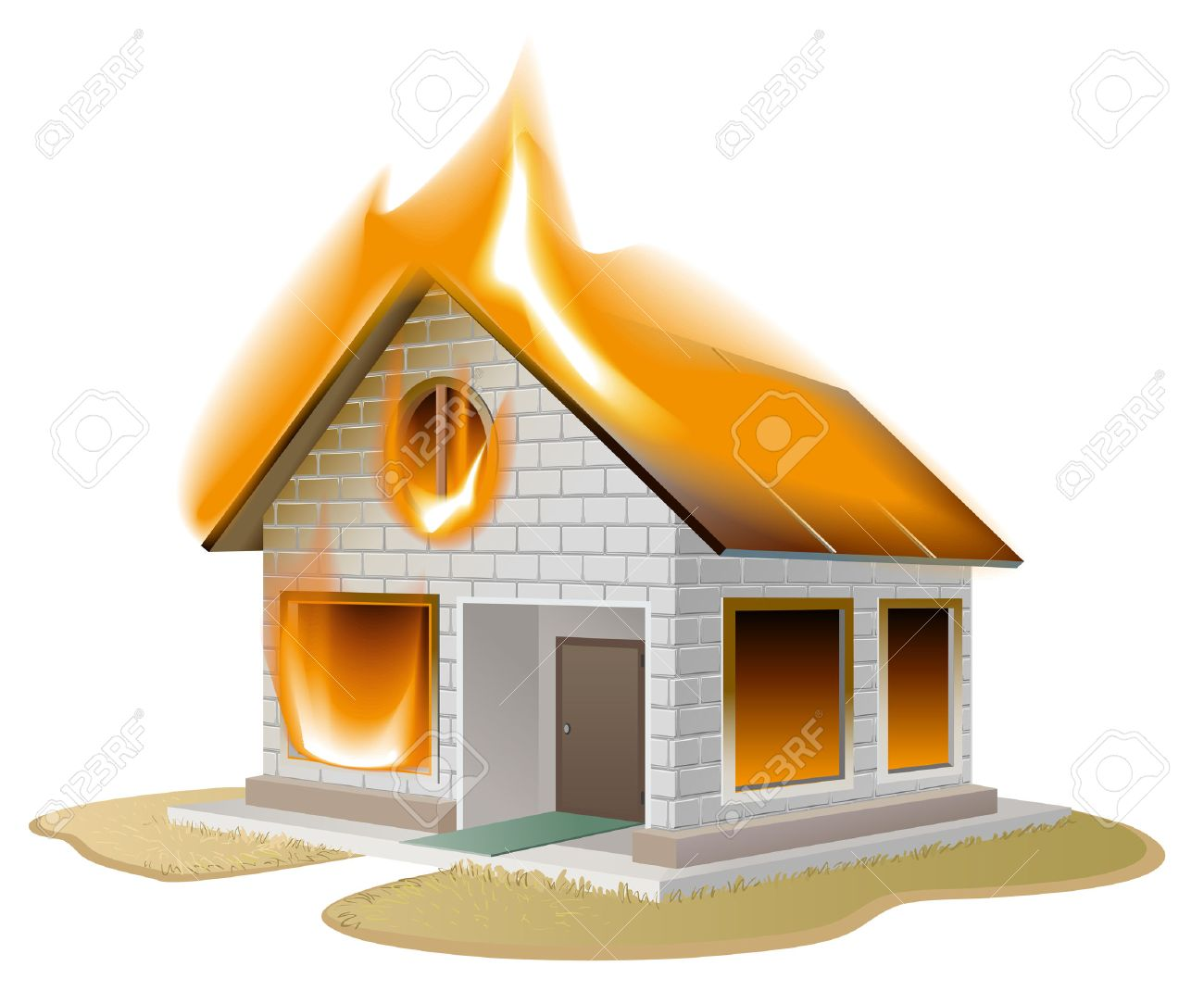 Vector   White Brick House On Fire. Country Cottage In Danger. Isolated  Illustration In Vector Format