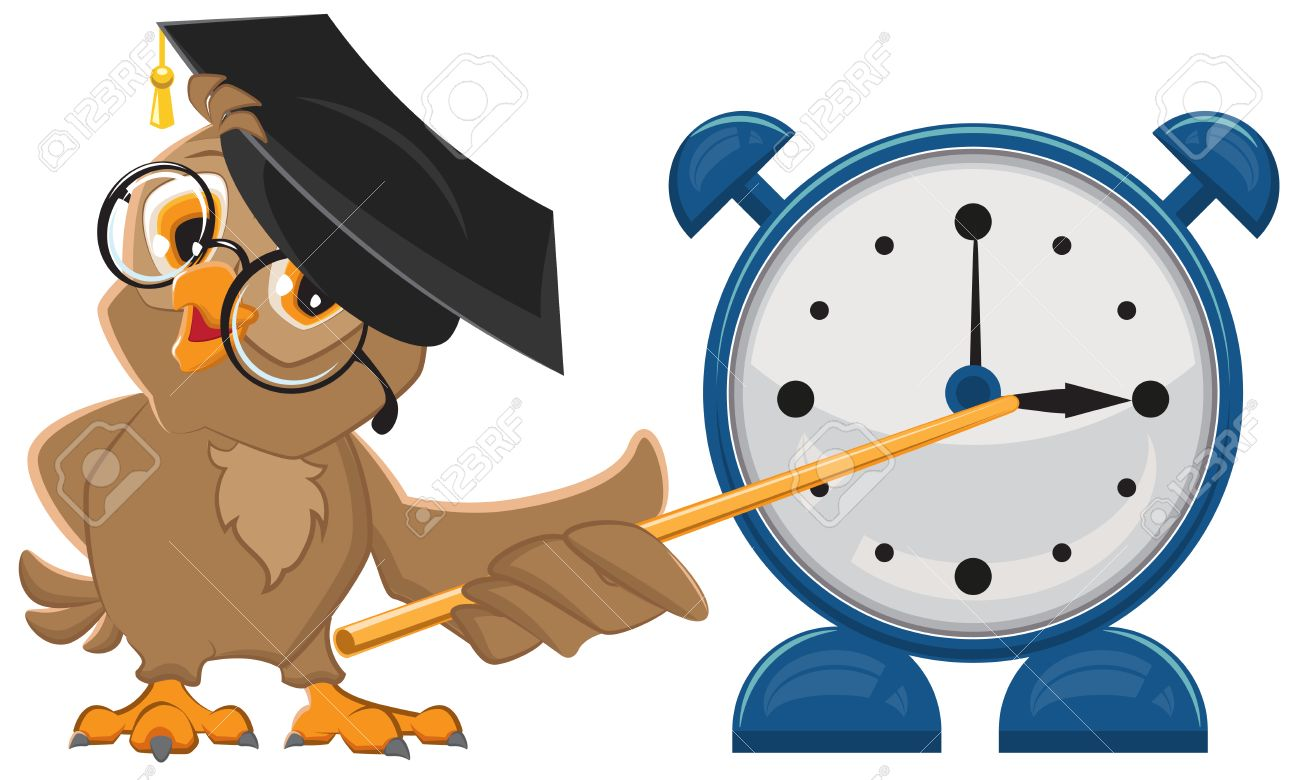 Owl teacher with glasses. Owl teacher shows pointer on the clock. Alarm clock. Isolated illustration in vector format - 44689365