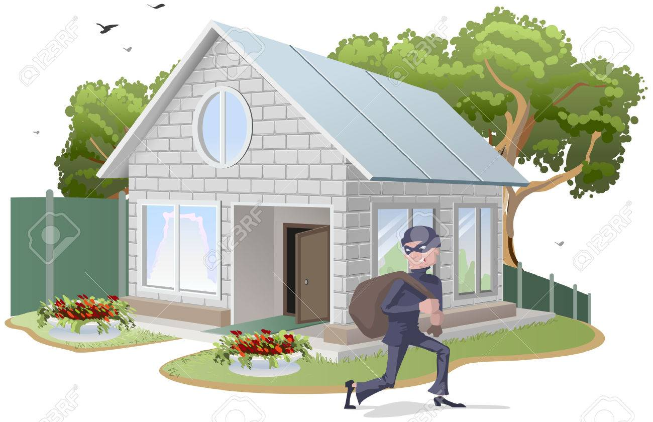 Male thief robbed house. Burglaries. Property insurance. Illustration in vector format - 44875097