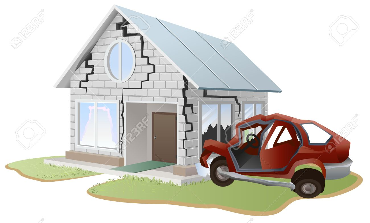 Autounfall Auto Sturzte In Die Wand Zu Hause Sachversicherung