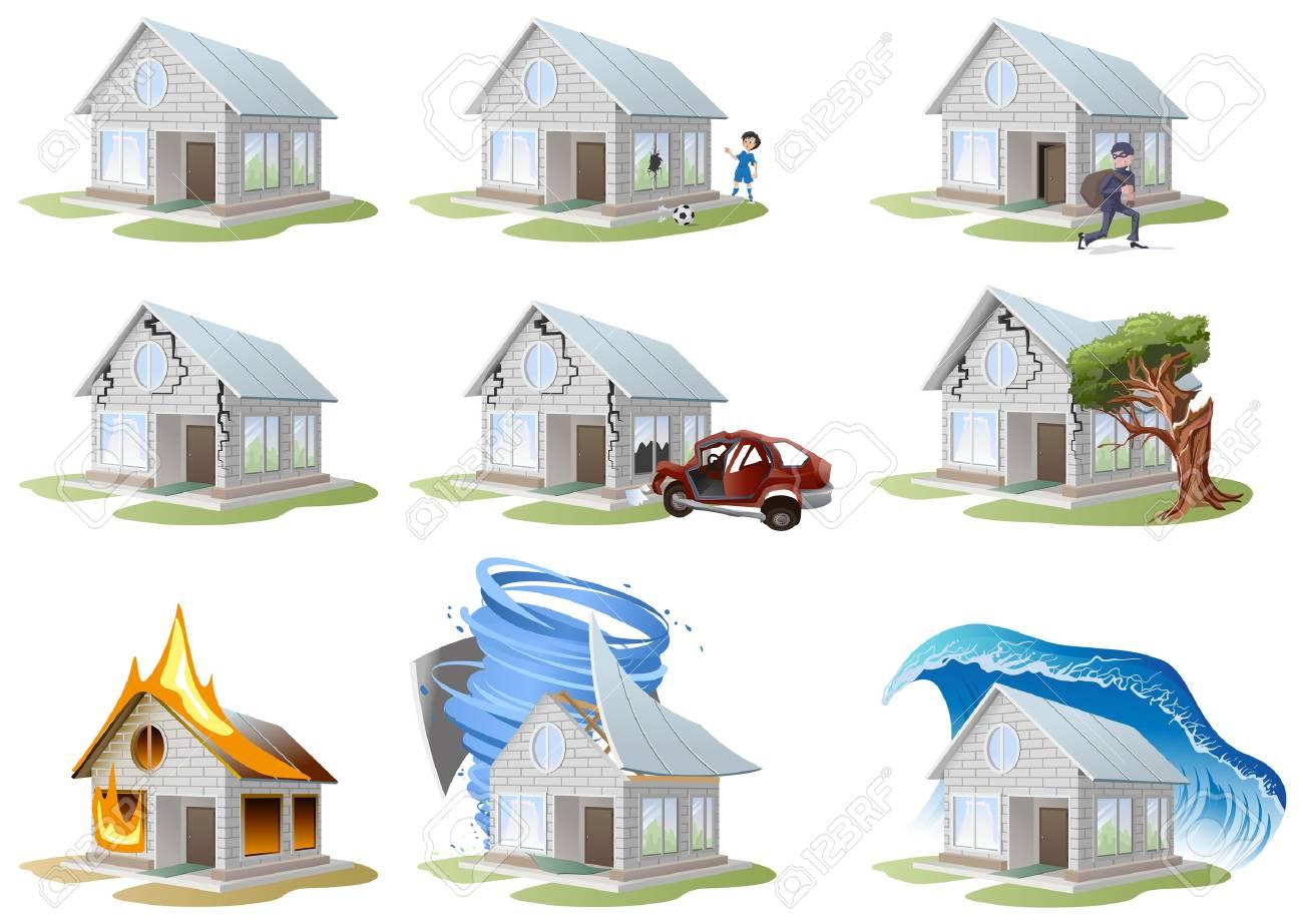 Home insurance. Property insurance. Big set house insurance. Vector illustration concept of insurance. - 46114146