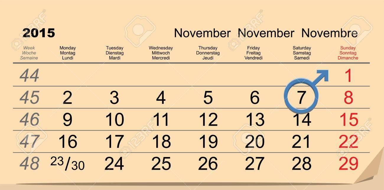 7 November 2015 International Mens Day Calendar Reminder