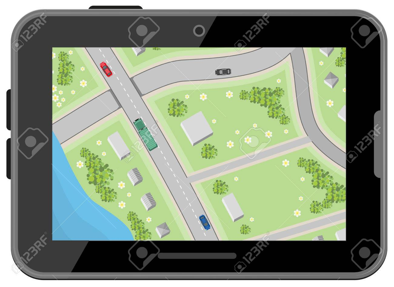 map with driving directions top view black digital tablet car navigation illustration