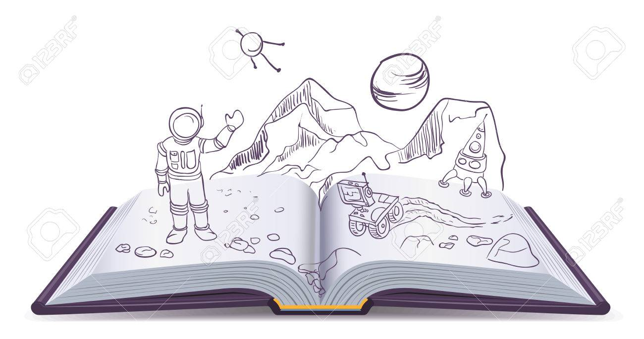 Open book Martian. Science Fiction space. Illustration in vector format - 47397433