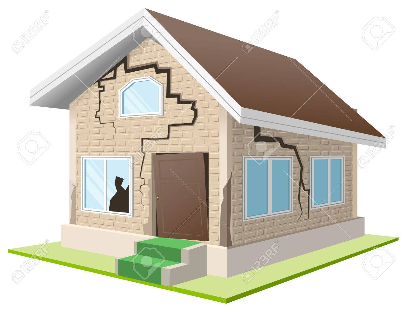 Earthquake cracked wall of house. Vacation home. Property insurance. Isolated illustration in vector format - 49501641