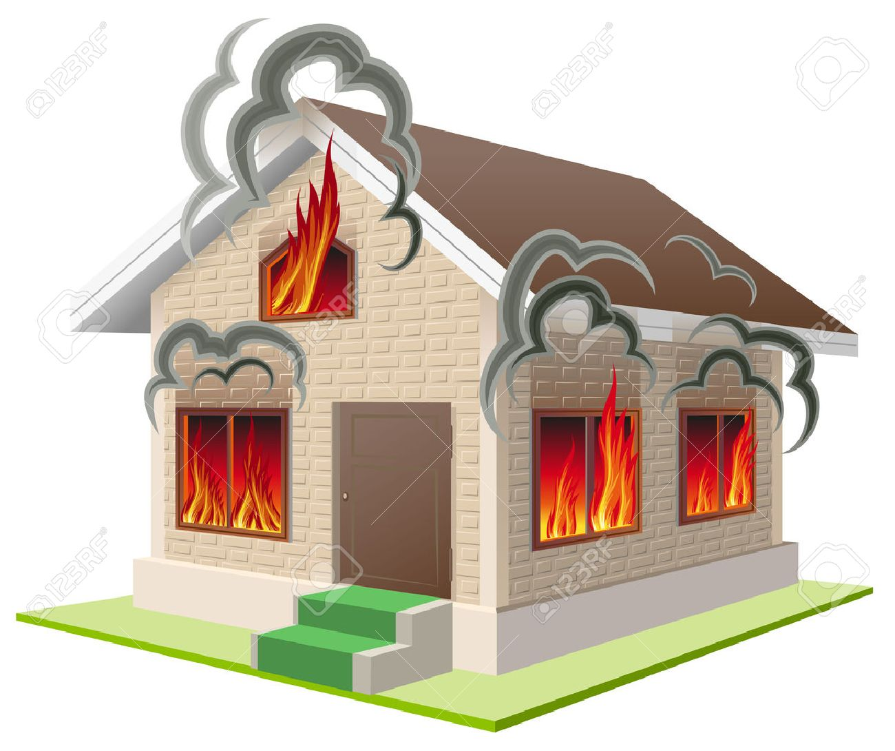 Stone house burns. Property insurance against fire. Home insurance. Isolated on white vector illustration - 49501648
