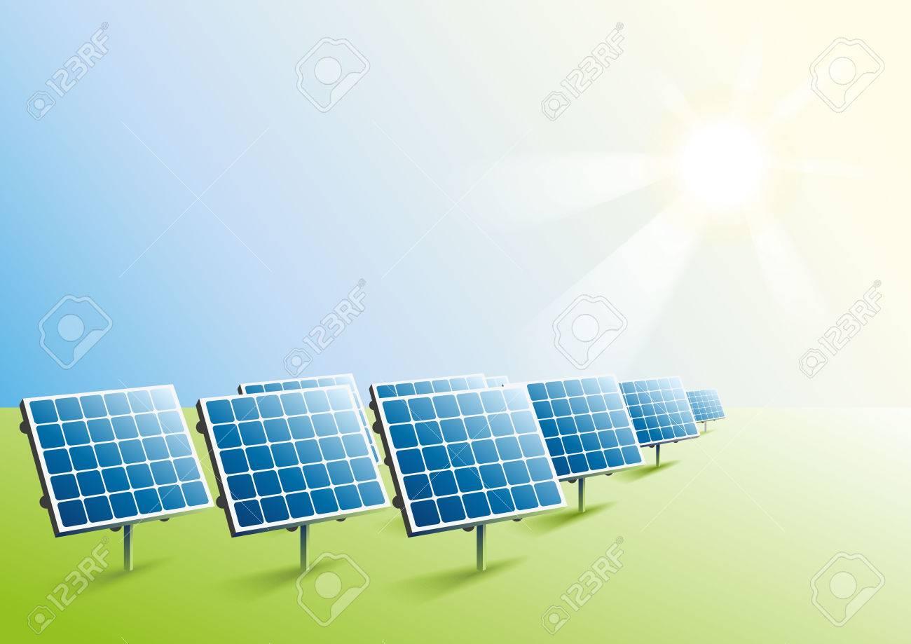 太陽光発電フィールドでのソーラー パネルベクトル形式のイラストの