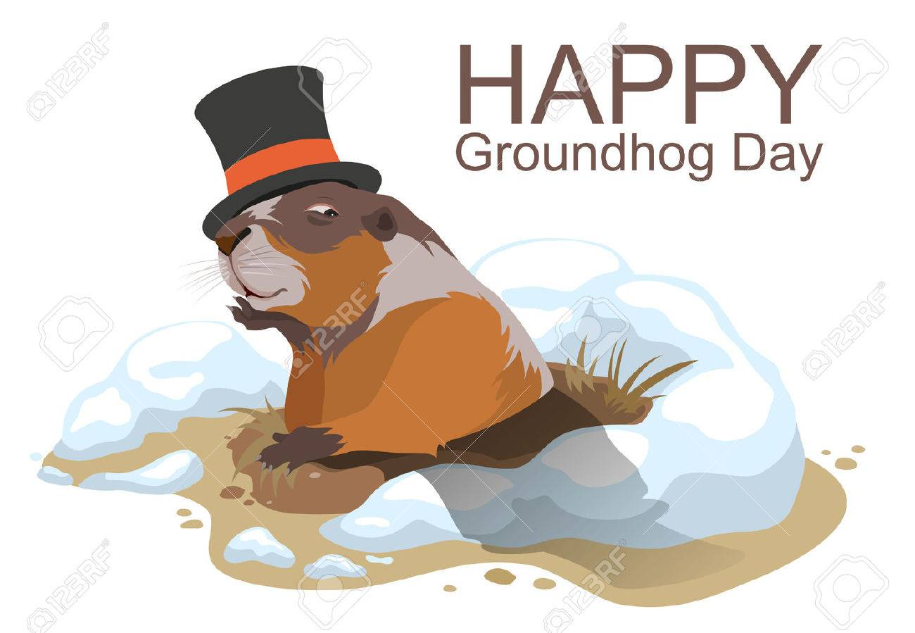 Happy Groundhog Day. Marmot climbed out of hole and yawns. Illustration in format - 50497935